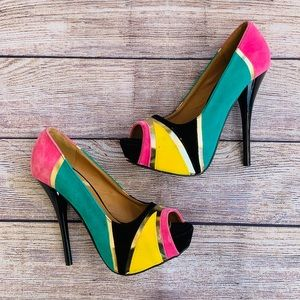 Qupid Multicolor Faux Suede Open Toe Heels